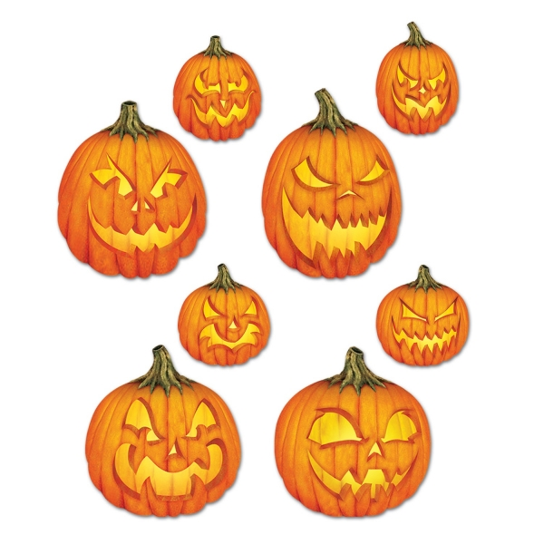 Cutout Set Gruselige Halloween-Kuerbisse - Gruselparty Deko