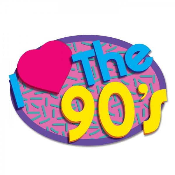 Cutout Dekoschild I Love the 90's - 90er Jahre Mottoparty Deko