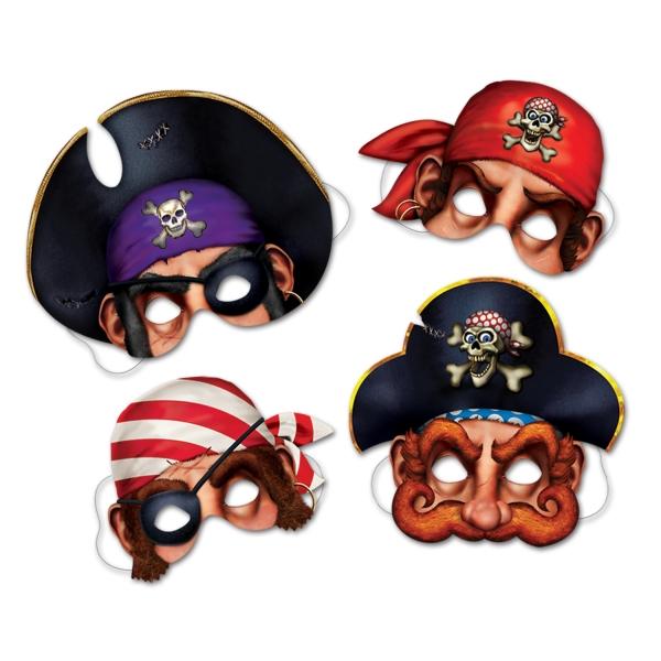 Party-Extra Papiermasken Karibik-Piraten, 4er Pack