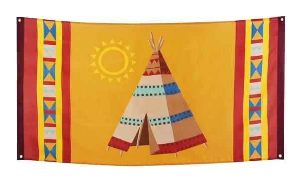 Dekofahne Indianer Fest - Indianerparty Wild West Deko