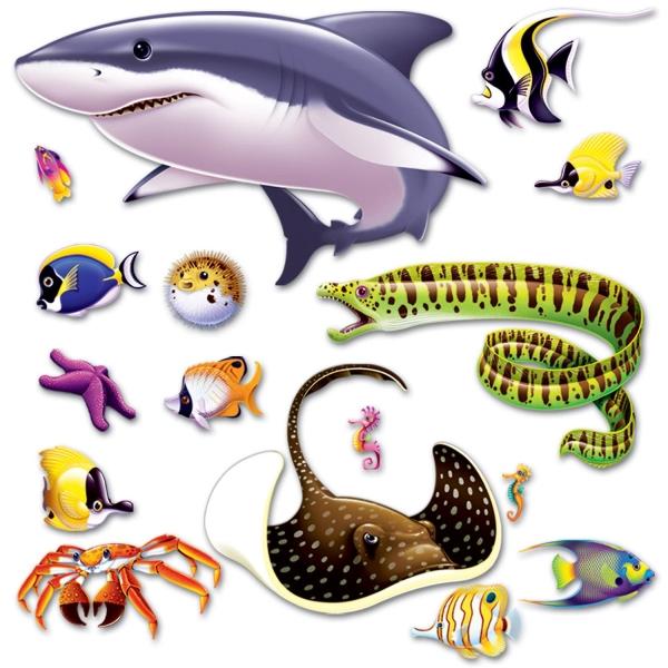 Dekofolien Weißer Hai + Stachelrochen