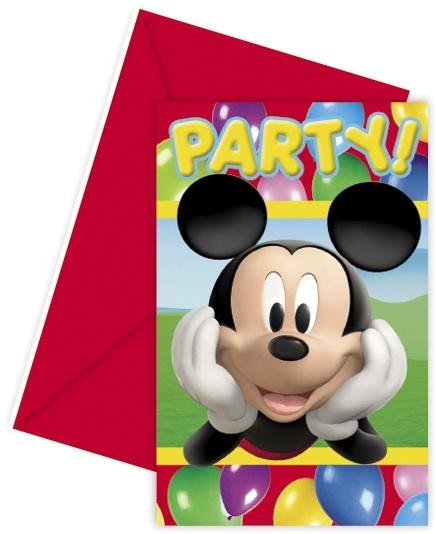 Einladungskarten Mickey Maus, 6er Pack mit Umschlägen