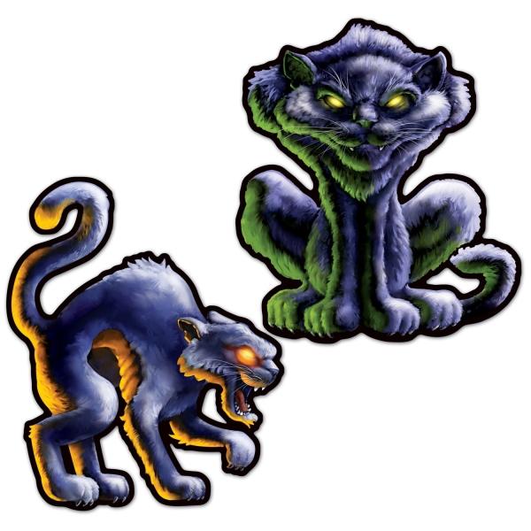 Cut-out-Set Horror-Katzen, 2-teilig, je 41cm