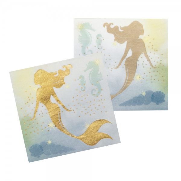Servietten Meerjungfrau, 12 Stück, 33x33 cm
