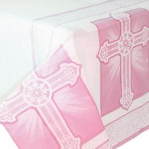 Papier-Tischdecke Christliche Feier, rosa