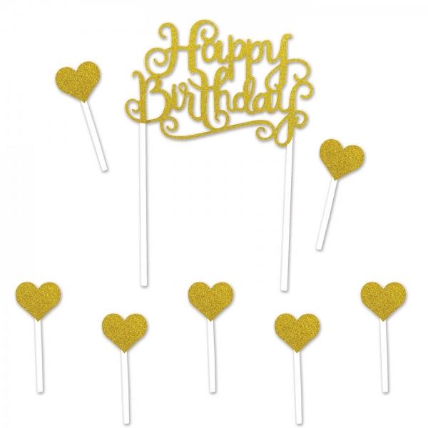Happy Birthday Tortentopper gold mit Herzchen