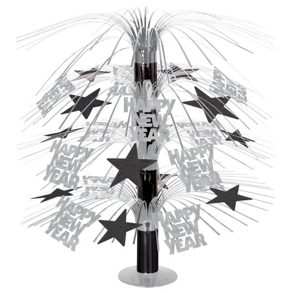 Große Tischkaskade Happy New Year schwarz-silber - Silvesterdeko