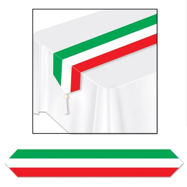 Papp-Tischläufer rot-weiß-grün