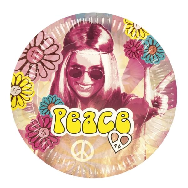Pappteller Hippie Revival - 70er Jahre Flower Power Tischdeko
