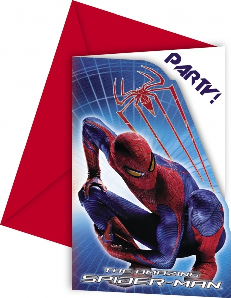 Einladungskarten Spiderman, 6er Pack