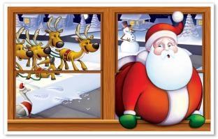 Dekofolie Santa steckt fest - Weihnachtsdeko