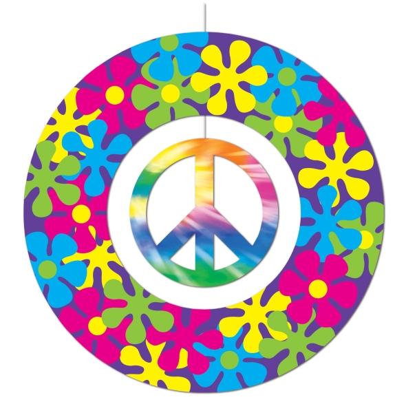 Dekohänger Peace, 30 cm Durchmesser - Flower Power Deko