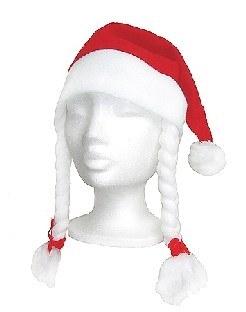 Weihnachtsmann-Mütze mit Zöpfen - Weihnachtsdeko