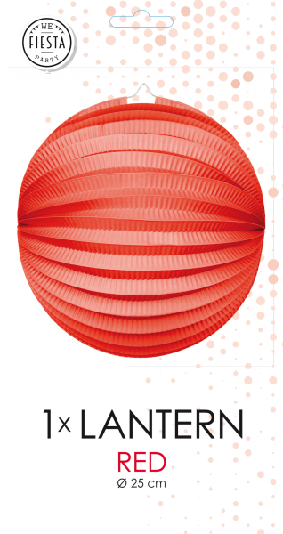 Lampion, rund in Rot 25 cm ø