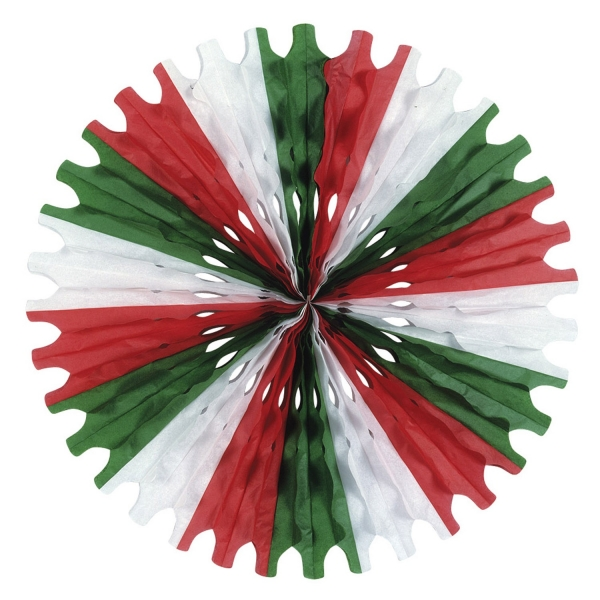 Dekofächer Stern rot-wei8-grün - Mexikoparty Deko