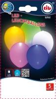 LED Leuchtballon bunt, 5er Pack