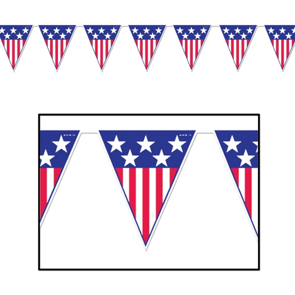 Wimpelkette Stars + Stripes - Amerika Deko