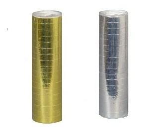 Folienluftschlangen Metallic-Gold + Metallic-Silber