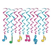 Deko-Spiralhänger Neon-Musiknoten, 12er Pack