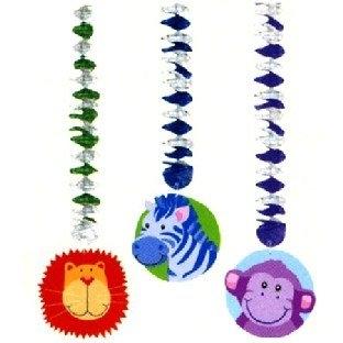 Deko-Spiralhänger Lustige Dschungeltiere, 3er Pack, je 75 cm lang