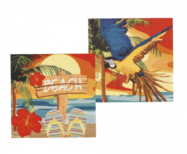 Party-Extra Servietten Paradise Beach, 12er Pack - Hawaii Tischdeko