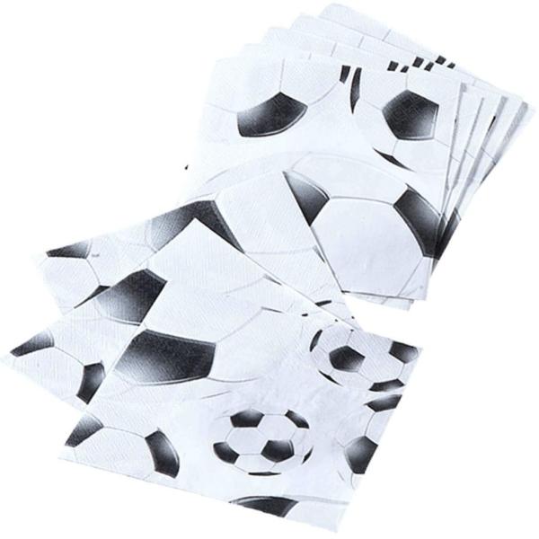 Servietten Fußballmatch Schwarz-Weiß, 20er Pack - Fußball Deko