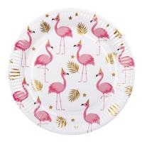 Pappteller Flamingoparty, 6er Pack, 23 cm