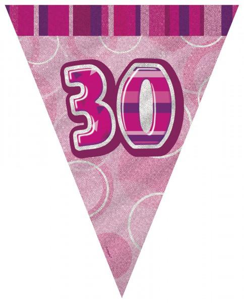 Wimpelkette Pink Birthday, 3,6 Meter lang
