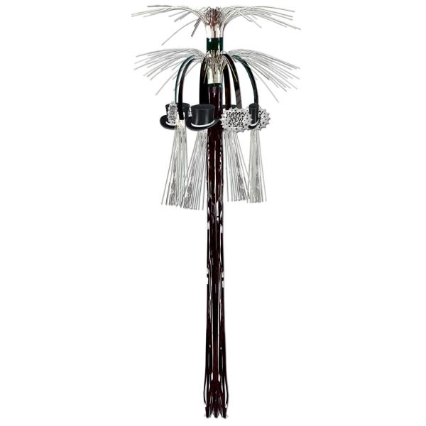 Kaskaden-Dekohänger Silberne Silvesterparty, 90cm lang