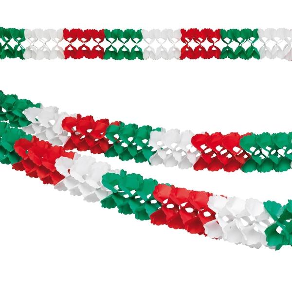 Deko-Girlande rot-weiß-grün 4 Meter lang - Mexiko Deko