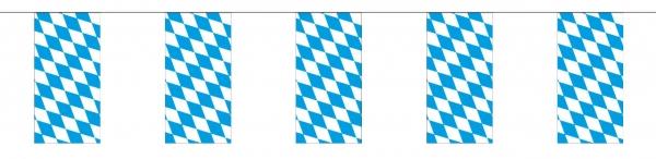 Fahnenkette Bayern, 10 Meter - Oktoberfest Deko