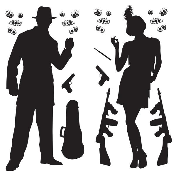 Dekofolien Bonny + Clyde - Gangster Deko 20er Jahre
