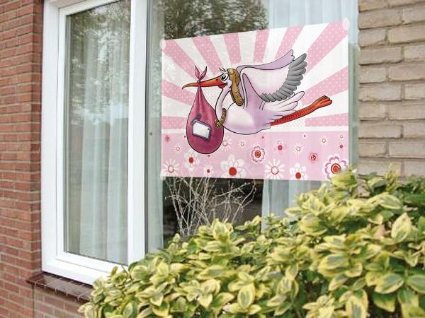 Fensterfahne Klapperstorch Mädchen - Impression