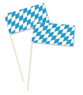 Fahne Bayerische Raute, am Holzstab, 12x24 cm, 10er Pack