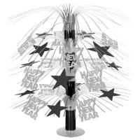 Große Tischkaskade Happy New Year, 45 cm, schwarz-silber