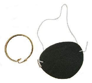 Piraten-Set Augenklappe + Ohrring - Piratenparty Deko