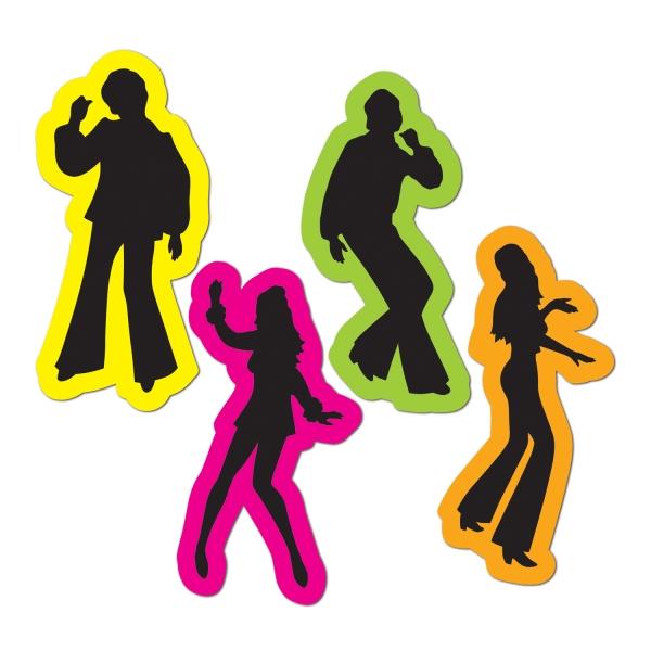 Cut-out-Set Disco-Tänzer, 4er Pack je 40 cm groß