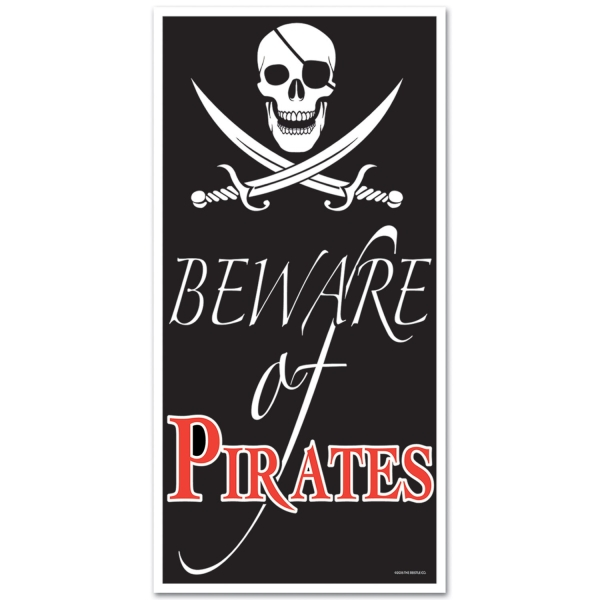 Party-Extra Tür-Dekofolie Beware of Pirates