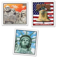 Cut-out-Set Amerikanische Briefmarken, 3er Pack je 45 cm x 30 cm groß