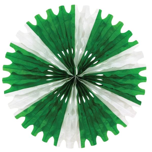 Party-Extra Dekofächer Stern, grün-weiß, 63 cm
