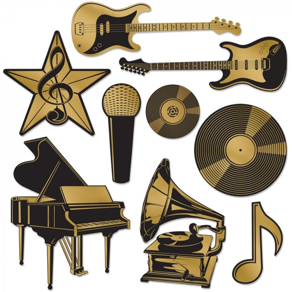 Folien Cutout-Set Musikpreis - Hollywood + Musikparty Deko