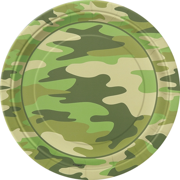 Party-Extra Pappteller Flecktarn - Armyparty Tischdeko