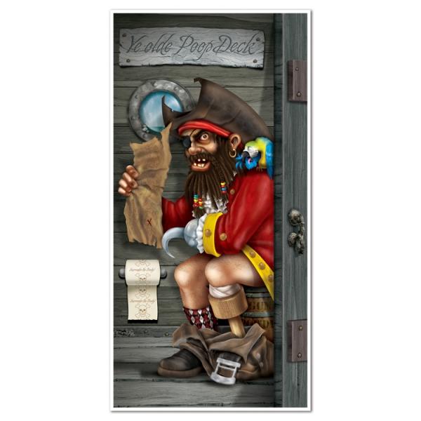 Tür-Dekofolie Blackbeard's Stilles Örtchen - Piratenparty Deko