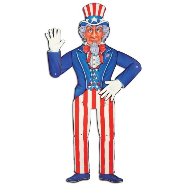 Cutout-Figur Uncle Sam, beweglich aufgrund Metallösen an den Gelenken