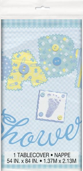 Kunststoff-Tischdecke Baby Shower, blau