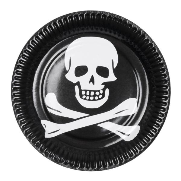 Pappteller Totenkopf - Piratenparty Deko