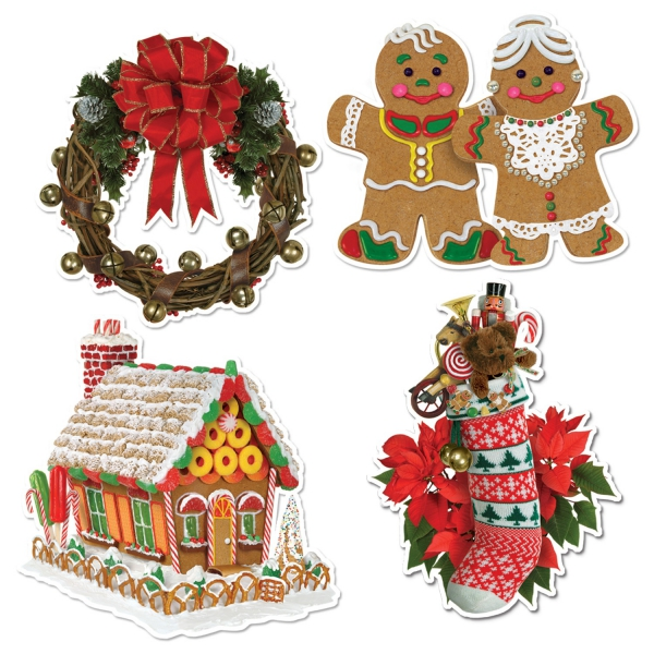 Cutout-Set Gemütliche Weihnachtsstube, 4-teilig, je 40 cm