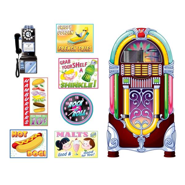 Dekofolie Jukebox + American Diner Set, 8-teilig, 30-150cm groß