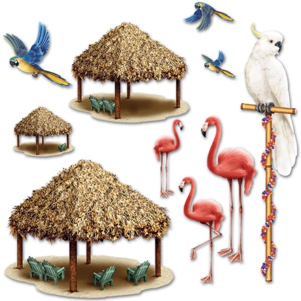Dekofolie Vögel und Strandhütten