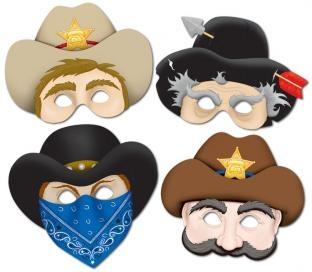 Party-Extra Papiermasken Wilde Cowboys, 4er Pack